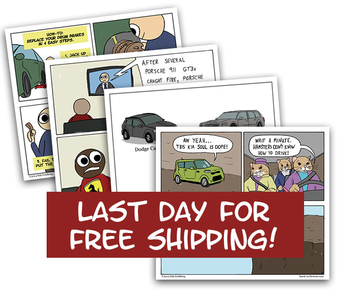 Last day for free shipping in the Stuck in Reverse Society 6 Store